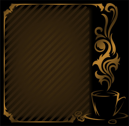 steaming: black coffee diagonal frame with a gold cup Illustration