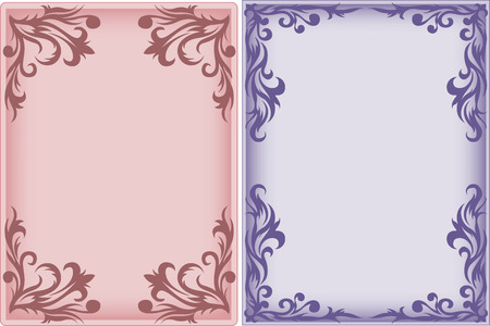 pink and purple vertical frame with an ornament Vector