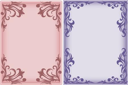 accents: Rosa y p�rpura marco vertical con un adorno Vectores