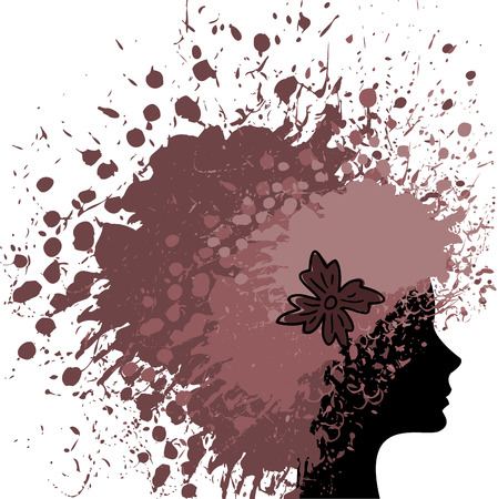 silhouette of a female head of luxuriant hair from paint Vector