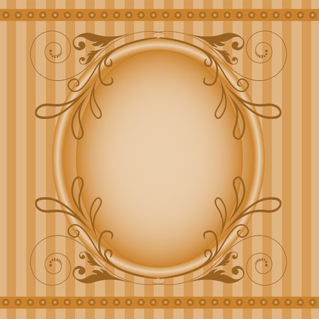 brown oval frame with elegant floral ornament Vector