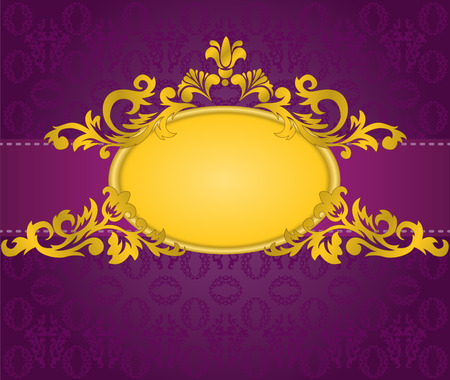 purple silk: gold oval frame with a horizontal stripe on a purple background