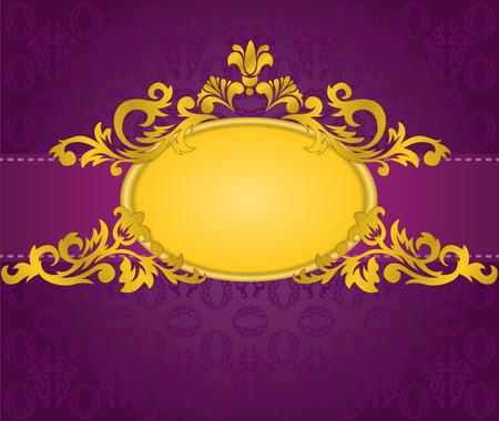 purple silk: oro marco oval con una banda horizontal sobre un fondo p�rpura Vectores