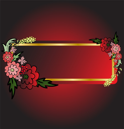 abstract black background with red flowers and card Stock Vector - 9113231