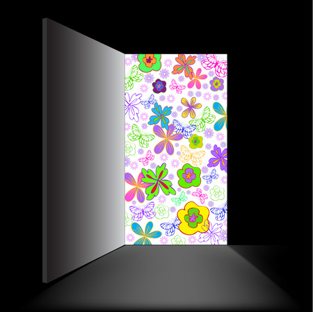 in a black room open doorway filled with flowers Stock Vector - 9113237