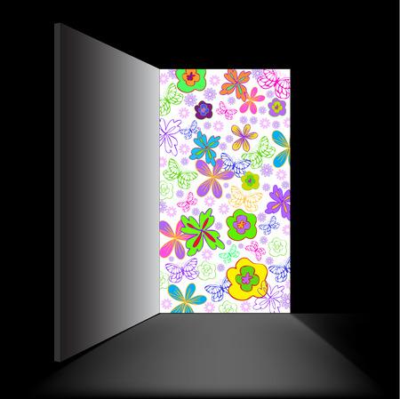 in a black room open doorway filled with flowers Stock Vector - 9113237