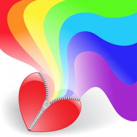 shiny heart: rainbow twists of red heart with fastener
