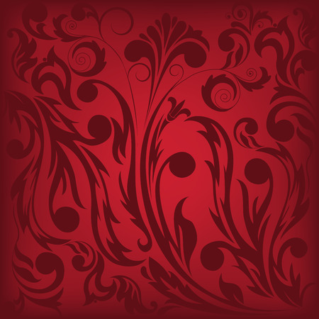 dark red floral background, which can be used as seamless Vector