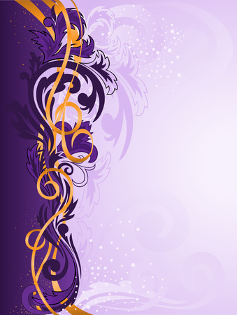 purple swirls: purple vertical stripe patterned with gold ribbons