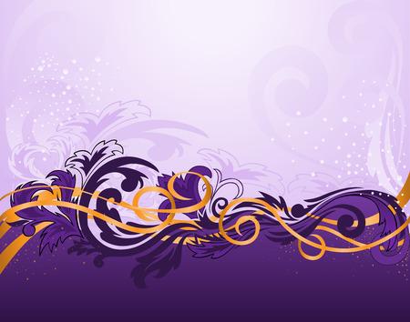 morado: Purple franja horizontal modelado con cintas de oro