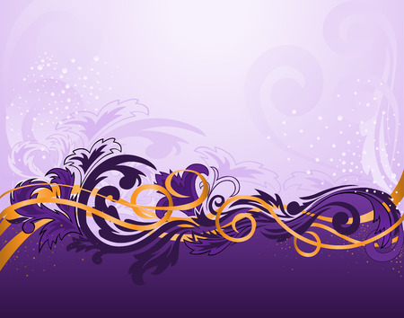 purple horizontal stripe patterned with gold ribbons Vector