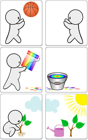 icon with the little man occupied a variety of activities Vector
