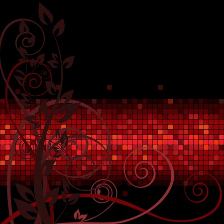 dark background with brown twigs on the red band Vector