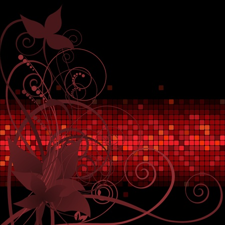 dark background with plant composition on the red band