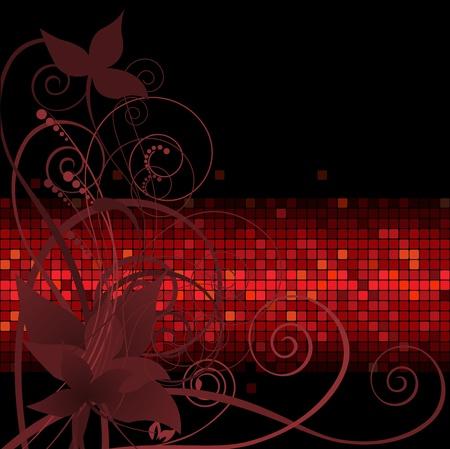 rust red: fondo oscuro con la composici�n de la planta de la banda roja