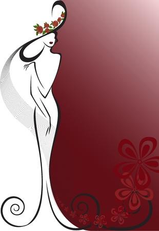 ankleiden: Silhouette einer Frau in ein langes Kleid und Hut auf dem Hintergrund mit Blumen Illustration