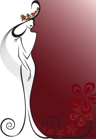 elite: silhouette of a woman in a long dress and hat on the background with flowers Illustration
