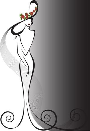 femme dressing: silhouette d'une femme mince dans une robe longue et chapeau avec des roses rouges