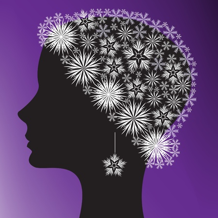 black silhouette of a womans head in a cap of snowflakes Vector