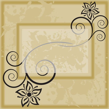 photo frame with black silhouettes of flowers Vector
