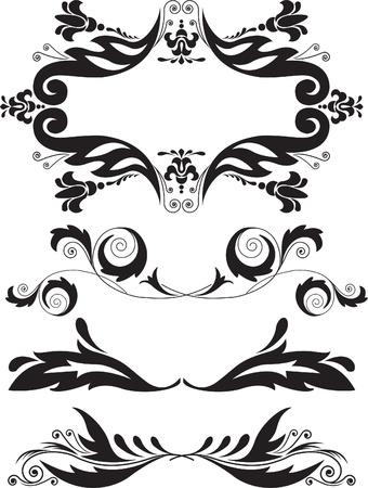 rule line: Vector illustration set of swirling flourishes decorative floral elements