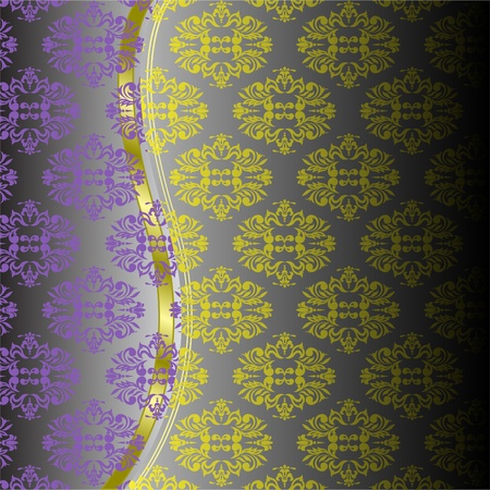 yellow-purple ornament and gold ribbon with a gray gradient background Vector