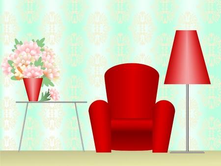 Rode stoel met een vloerlamp en een salontafel met een boeket van bloemen