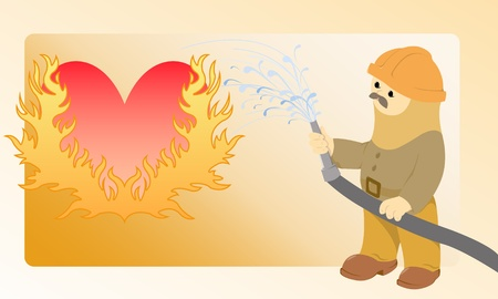 flaming heart: The moustached firefighter pours water from a hose flaming heart Illustration