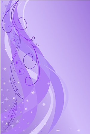star background: abstract floral background with the stars lilac shades