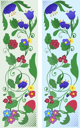 buttercup  decorative: A set of abstract floral ornaments of flowers and berries