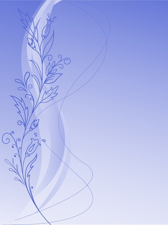 floral design of flowers and leaves on a blue gradient background Vector