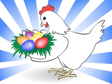 white chicken keeps a nest with colored eggs Vector