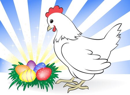 nest egg: white chicken leaned over the nest with colored eggs