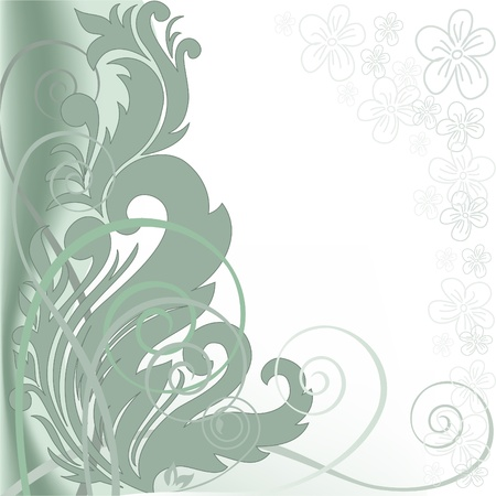 abstract green background with swirls and plant composition Vector