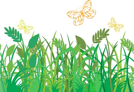 green grass with butterflies, which can be used as a seamless background Stock Vector - 9256114