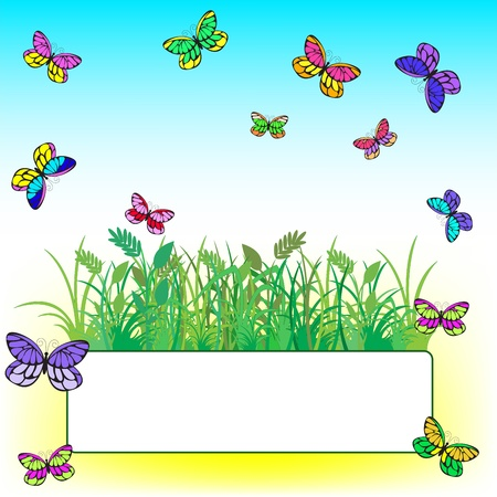 card framed by grass and colorful butterflies Stock Vector - 9256116