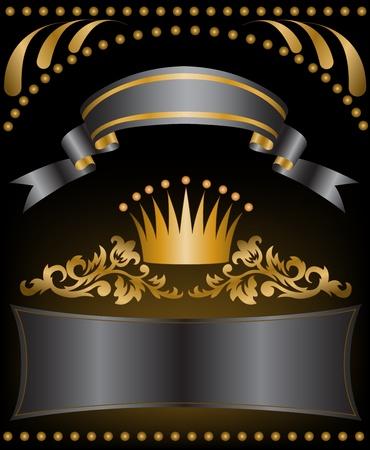 corona real: Corona con cintas de seda negras y un adorno de oro