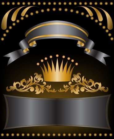 crown background: crown with black silk ribbons and a gold ornament