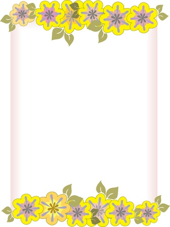 sheet of paper in a frame of yellow flowers Stock Vector - 9256111