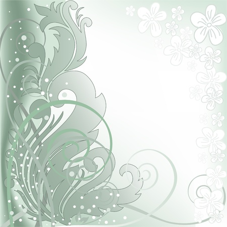 florid: abstract blurred green background with  plant composition Illustration