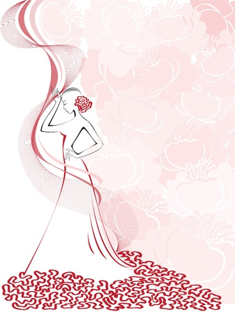 pink dress: silhouette of a slender woman in a pink floral whirlwind