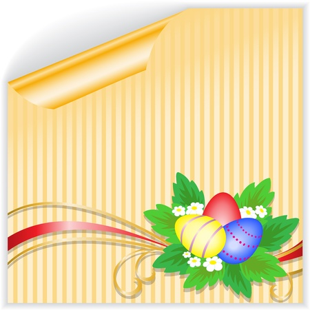 three Easter eggs with a bouquet on the yellow striped sticker Vector