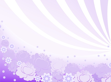 horizontal purple background with flowers and arcs Vector