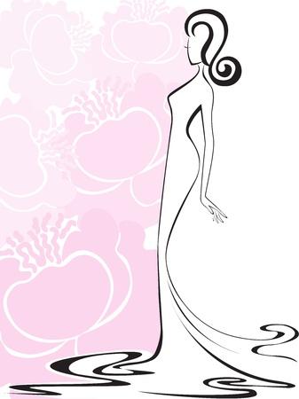 femme dressing: silhouette d'une femme mince dans une robe longue sur un fond de fleurs roses Illustration
