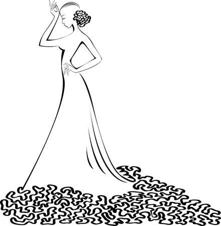 silhouette of a slender woman in a long  ball dress  Vector
