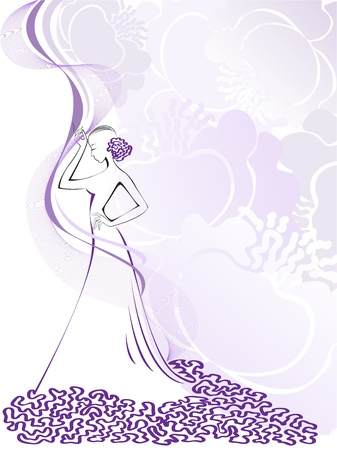 glamorous: silhouette of a slender woman in purple floral whirlwind