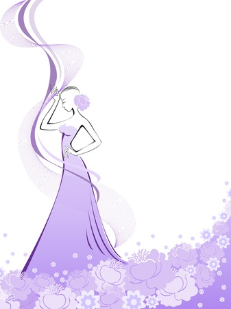 is slender: woman in a long purple flower dress