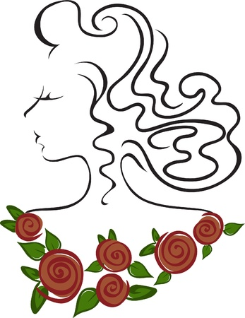 frizz pattern: contour of a womans head with a necklace of red roses