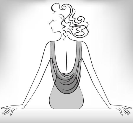 femme dressing: Silhouette de la femme mince assise dans un d�collet� Illustration