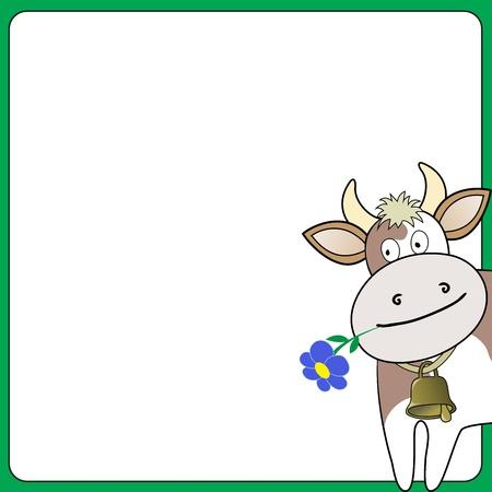 cow bells: vaca con una flor que se asoma sobre el cuadrado blanco